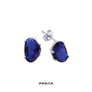 Penta Silver - Üçgen Taşlı Gümüş Küpe