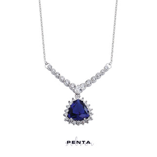 Penta Silver - Üçgen Taşlı V Montür Gümüş Kolye