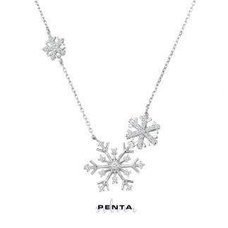 Penta Silver - Üçlü Kar Tanesi Gümüş Kolye
