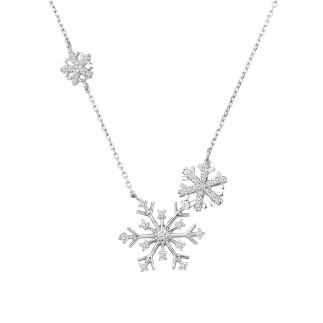 Üçlü Kar Tanesi Gümüş Kolye - Thumbnail