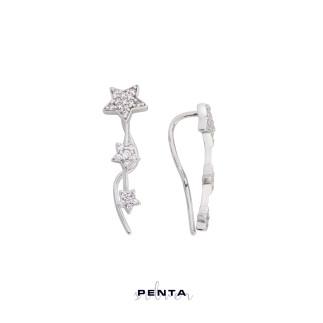 Penta Silver - Üçlü Yıldız Kıkırdak Gümüş Küpe