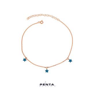 Penta Silver - Üçlü Yıldız Zirkon Taşlı Gümüş Halhal (1)