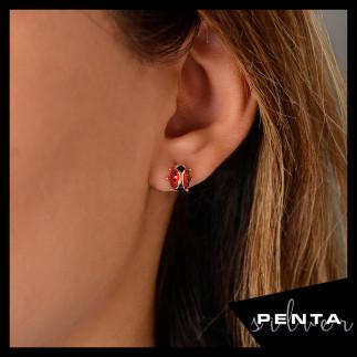 Penta Silver - Uğur Böceği Gümüş Küpe (1)