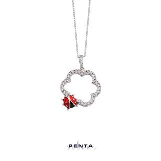Penta Silver - Uğur Böcekli Çiçek Gümüş Kolye (1)