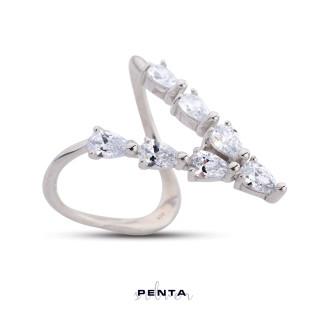 Penta Silver - V Damla Gümüş Yüzük