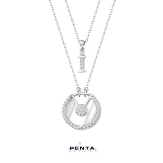 Penta Silver - V Kesim Sedefli Harfli Gümüş Kolye Çift Zincirli (1)