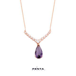 Penta Silver - V Montür Damla Gümüş Kolye