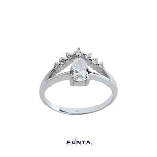 Penta Silver - V Sıra Taş Damla Stil Gümüş Yüzük
