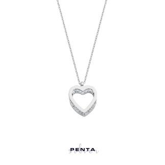 Penta Silver - Yansıma Kalpli Gümüş Kolye (1)