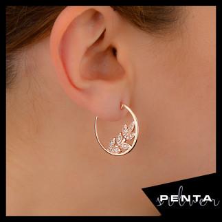 Penta Silver - Yaprak Motifli Halka Gümüş Küpe