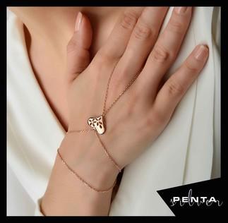 Penta Silver - Yaprak Motifli Kalp Gümüş Şahmeran Bileklik