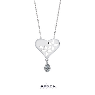 Penta Silver - Yaprak Motifli Kalpli Gümüş Kolye (1)