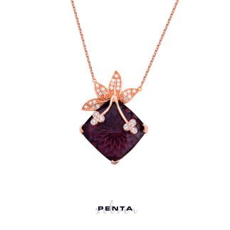 Penta Silver - Yaprak Taşlı Gümüş Kolye (1)