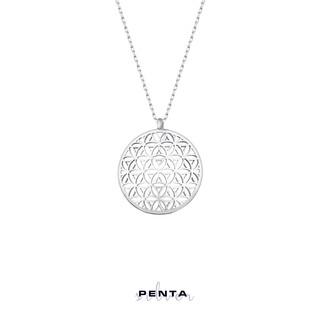 Penta Silver - Yaşam Çiçeği Bombeli Gümüş Kolye (1)
