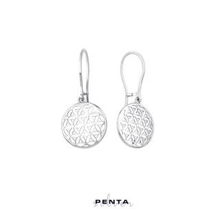 Penta Silver - Yaşam Çiçeği Bombeli Gümüş Küpe