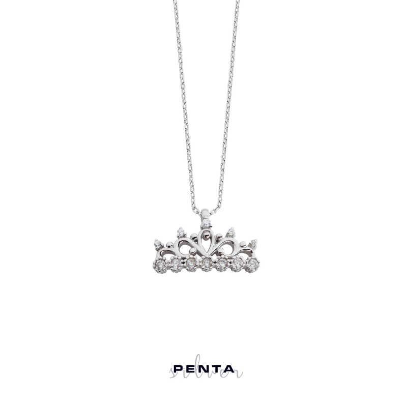 Yedi Taş Prenses Tacı Gümüş Kolye