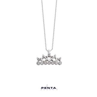 Yedi Taş Prenses Tacı Gümüş Kolye - Thumbnail
