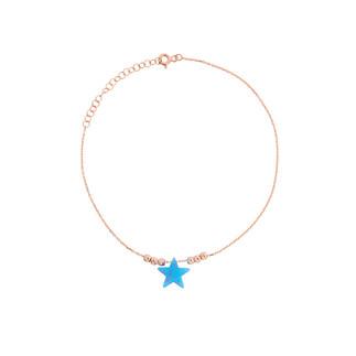 Yıldız Fosforlu Sedefli Gümüş Halhal - Thumbnail