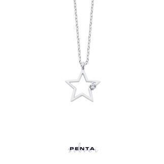 Penta Silver - Yıldız Gümüş Tektaş Kolye