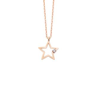 Yıldız Gümüş Tektaş Kolye - Thumbnail