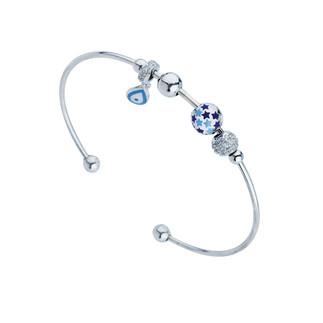 Yıldız Motifli Kelepçe Gümüş Bileklik - Thumbnail