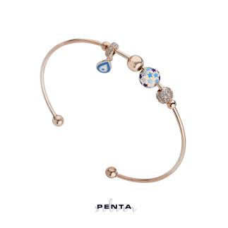 Penta Silver - Yıldız Motifli Kelepçe Gümüş Bileklik