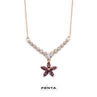 Penta Silver - Yıldız Renkli Markiz Gümüş Kolye