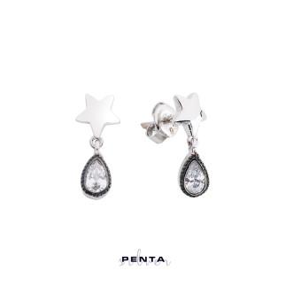 Penta Silver - Yıldızlı Sallantı Damla Gümüş Küpe (1)