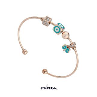 Penta Silver - Yonca Motifli Kelepçe Gümüş Bileklik