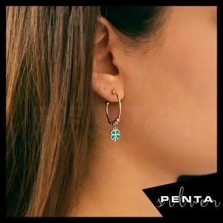 Penta Silver - Yonca Motifli Mineli Gümüş Küpe