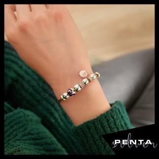 Penta Silver - Yunus Figürlü Mineli Gümüş Bileklik