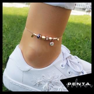 Penta Silver - Yunus Figürlü Mineli Gümüş Halhal (1)