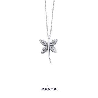 Penta Silver - Yusufçuk Gümüş Kolye Zirkon Taşlı