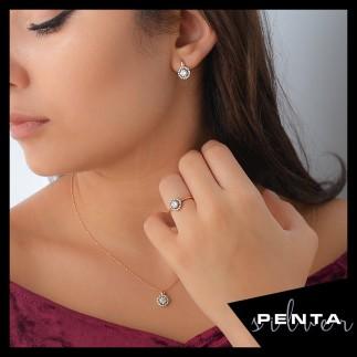 Penta Silver - Yuvarlak Anturaj Gümüş Takı Seti
