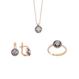 Yuvarlak Anturaj Gümüş Takı Seti - Thumbnail