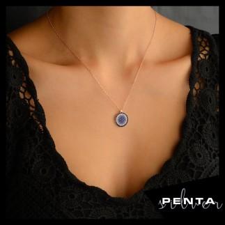 Penta Silver - Yuvarlak Nazar Boncuklu Gümüş Kolye
