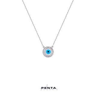 Penta Silver - Yuvarlak Sedef Göz Gümüş Kolye (1)