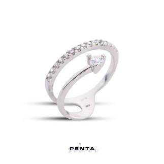 Penta Silver - Yuvarlak Taşlı Alyans Gümüş Yüzük