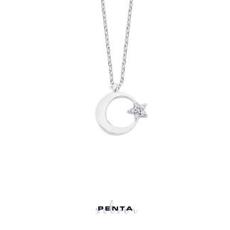 Penta Silver - Zarif Ay Yıldız Gümüş Kolye