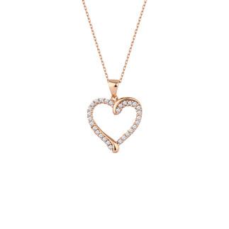 Zemin Sıra Taşlı Kalp Gümüş Kolye - Thumbnail