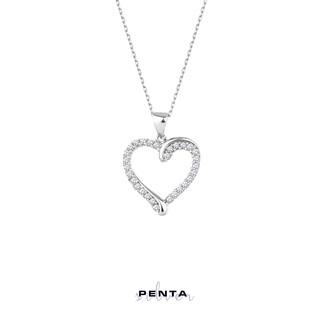 Penta Silver - Zemin Sıra Taşlı Kalp Gümüş Kolye