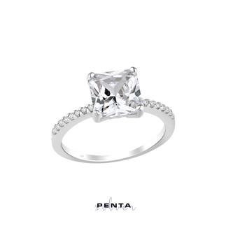 Penta Silver - Zemin Taşlı Prenses Kesim Tek Taş Gümüş Yüzük