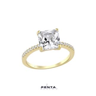 Zemin Taşlı Prenses Kesim Tek Taş Gümüş Yüzük - Thumbnail
