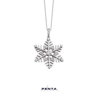 Penta Silver - Zirkon Kar Tanesi Gümüş Kolye