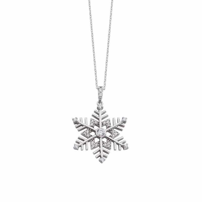 Zirkon Kar Tanesi Gümüş Kolye