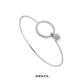 Penta Silver - Zirkon Taşlı Halka Kelepçe Gümüş Bileklik