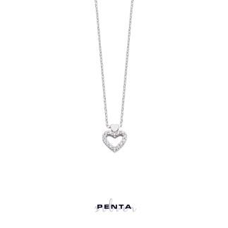 Penta Silver - Zirkon Taşlı Kalpli Gümüş Kolye (1)