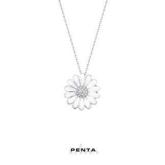 Penta Silver - Zirkon Taşlı Mineli Papatya Gümüş Kolye (1)