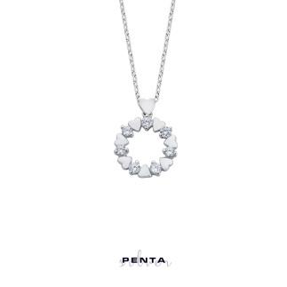 Penta Silver - Zirkon Taşlı Minik Kalpler Gümüş Kolye
