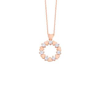 Zirkon Taşlı Minik Kalpler Gümüş Kolye - Thumbnail